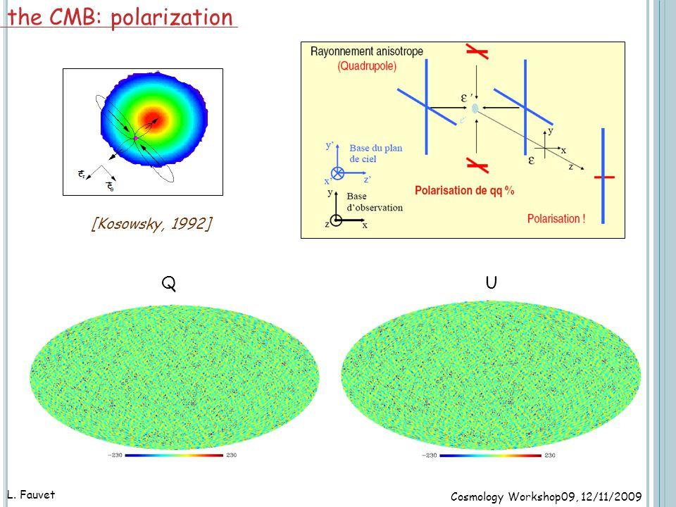 42 L. Fauvet the CMB: polarization Cosmology Workshop09, 12/11/2009 [Kosowsky, 1992] QU