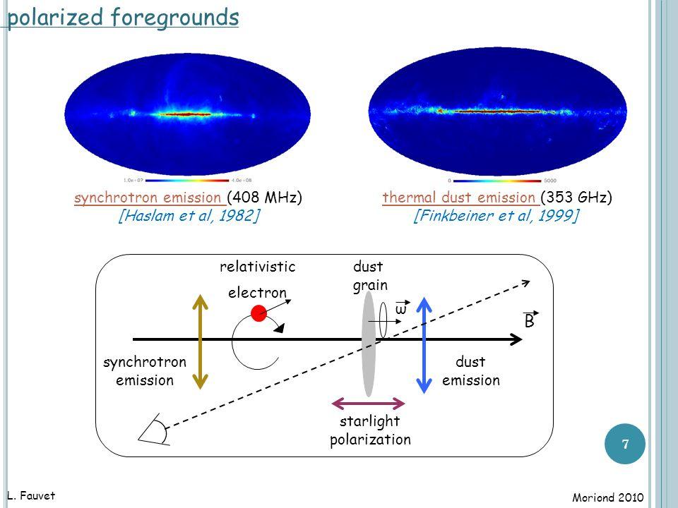 7 dust emission B ω relativistic electron synchrotron emission dust grain starlight polarization synchrotron emission (408 MHz) [Haslam et al, 1982] thermal dust emission (353 GHz) [Finkbeiner et al, 1999] L.