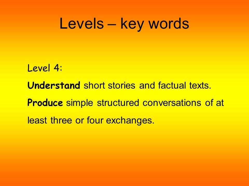 Levels – key words Level 3: Understand short passages/conversations.