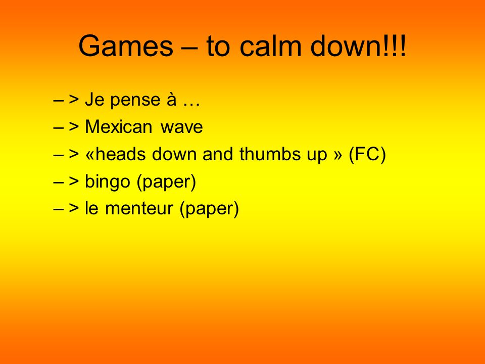 Games – to get hyper!!.
