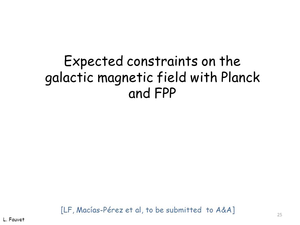 25 Expected constraints on the galactic magnetic field with Planck and FPP L.