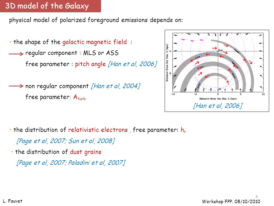 4 physical model of polarized foreground emissions depends on: the shape of the galactic magnetic field : regular component : MLS or ASS free parameter : pitch angle [Han et al, 2006] non regular component [Han et al, 2004] free parameter: A turb the distribution of relativistic electrons, free parameter: h r [Page et al, 2007; Sun et al, 2008] the distribution of dust grains [Page et al, 2007; Paladini et al, 2007] [Han et al, 2006] L.