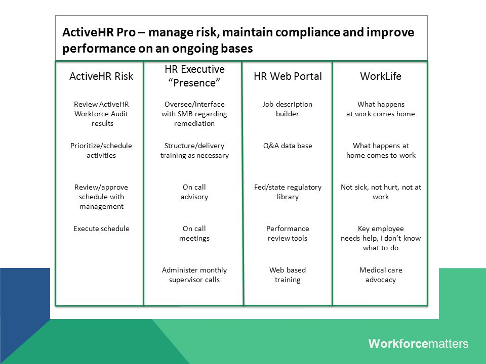 "ActiveHR Risk HR Executive ""Presence"" HR Web PortalWorkLife Review ActiveHR Workforce Audit results Oversee/interface with SMB regarding remediation J"