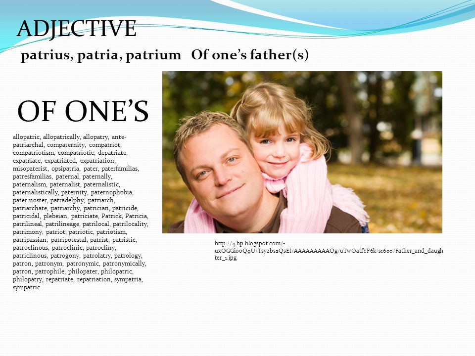 ADJECTIVE patrius, patria, patriumOf one's father(s) OF ONE'S http://4.bp.blogspot.com/- uxOGGiooQ9U/Tsyzbs2QsEI/AAAAAAAAAOg/uTwOatfYF6k/s1600/Father_and_daugh ter_1.jpg allopatric, allopatrically, allopatry, ante- patriarchal, compaternity, compatriot, compatriotism, compatriotic, depatriate, expatriate, expatriated, expatriation, misopaterist, opsipatria, pater, paterfamilias, patresfamilias, paternal, paternally, paternalism, paternalist, paternalistic, paternalistically, paternity, paternophobia, pater noster, patradelphy, patriarch, patriarchate, patriarchy, patrician, patricide, patricidal, plebeian, patriciate, Patrick, Patricia, patrilineal, patrilineage, patrilocal, patrilocality, patrimony, patriot, patriotic, patriotism, patripassian, patripotestal, patrist, patristic, patroclinous, patroclinic, patrocliny, patriclinous, patrogony, patrolatry, patrology, patron, patronym, patronymic, patronymically, patron, patrophile, philopater, philopatric, philopatry, repatriate, repatriation, sympatria, sympatric