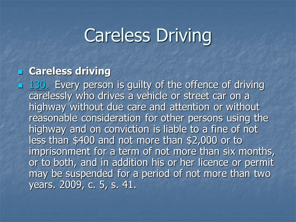 Careless Driving Careless driving Careless driving 130.