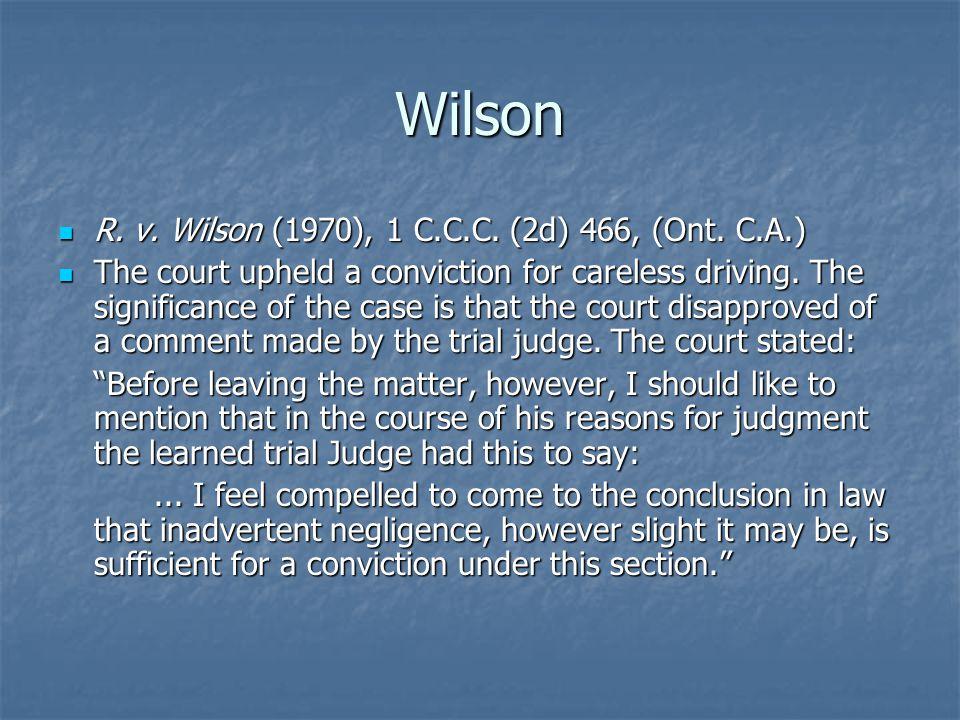 Wilson R. v. Wilson (1970), 1 C.C.C. (2d) 466, (Ont.