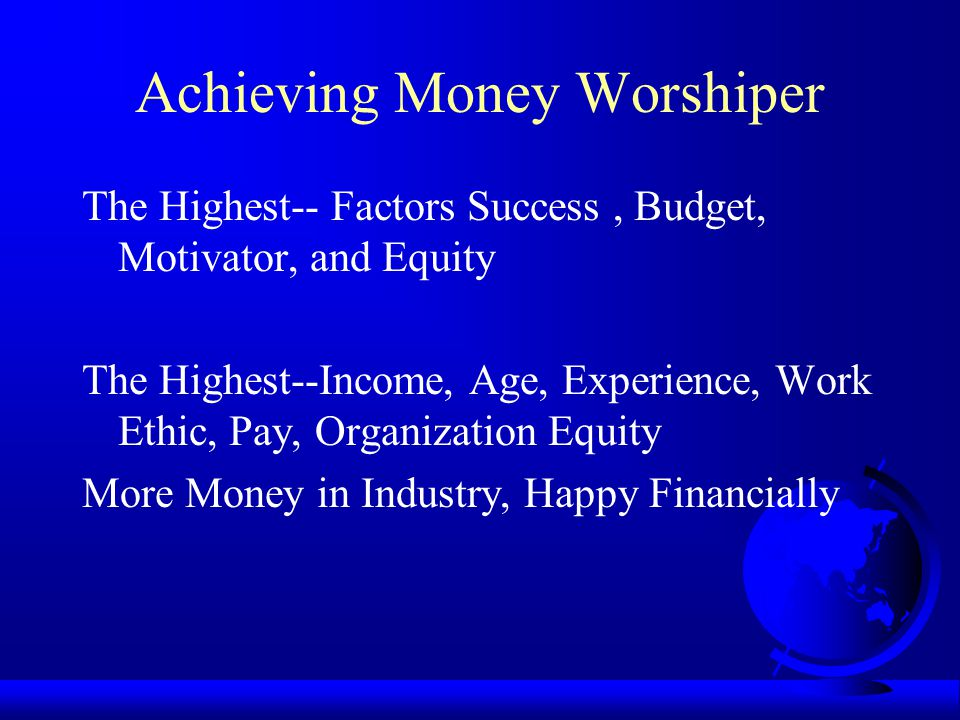 Careless Money Admirer The Lowest--Factor Budget The Highest--Factor Success The Lowest--Intrinsic, Pay, Life Satisfaction Admirer Money, No Money, Not Happy.