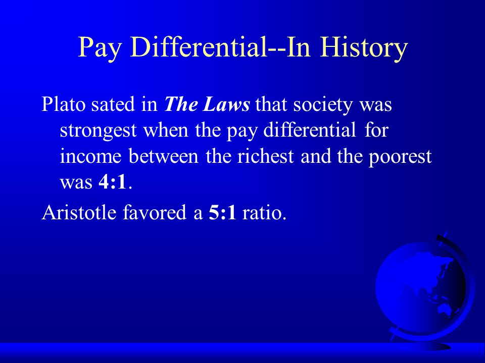Pay Differential The pay differential, irrespective of job content or function, is defined as the salary at one level divided by the salary at the next lower level.