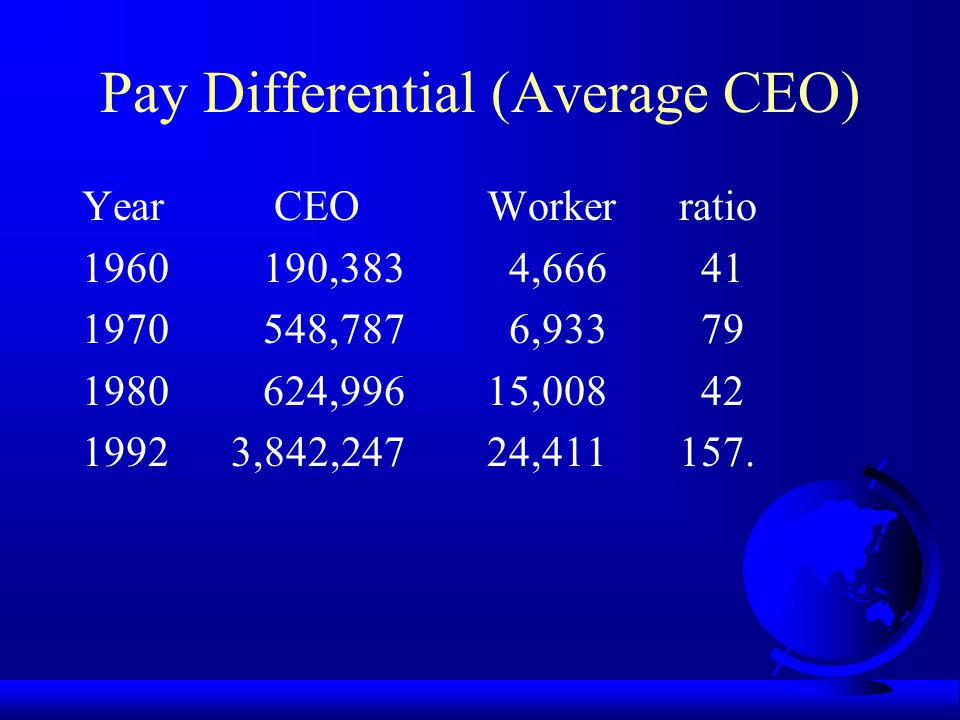 Pay Differential in 1990s! Hausman (1996): No. 1/No. 2 19911.70 19921.63 19931.77 19941.70 and 19951.93 (~ 2.00).