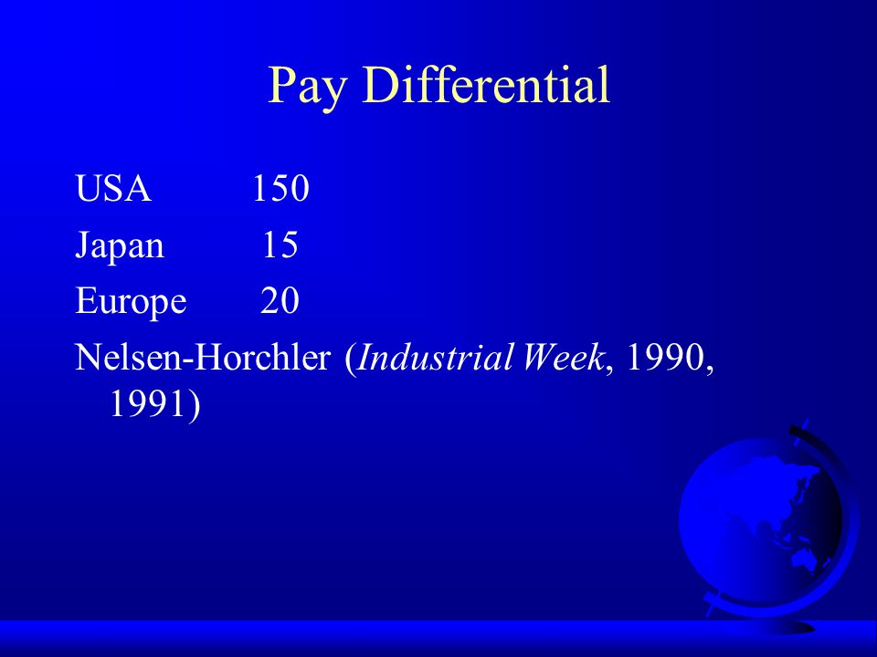Pay Differential (Highest Paid CEO) Year Highest CEO Worker Ratio 1991 58,999,000 18,462 3,190 1992 127,000,000 24,411 5,203 1993 203,010,590 25,317 8,019 1994 25,928,000 26,388 983 1995 65,580,000 26,652 2,461 1996 102,449,000 27,662 3,704 1997 230,725,000 28,381 8,130 1998 575,592,000 30,000 19,180 & This is different from the 4:1 or 5:1 ratio.