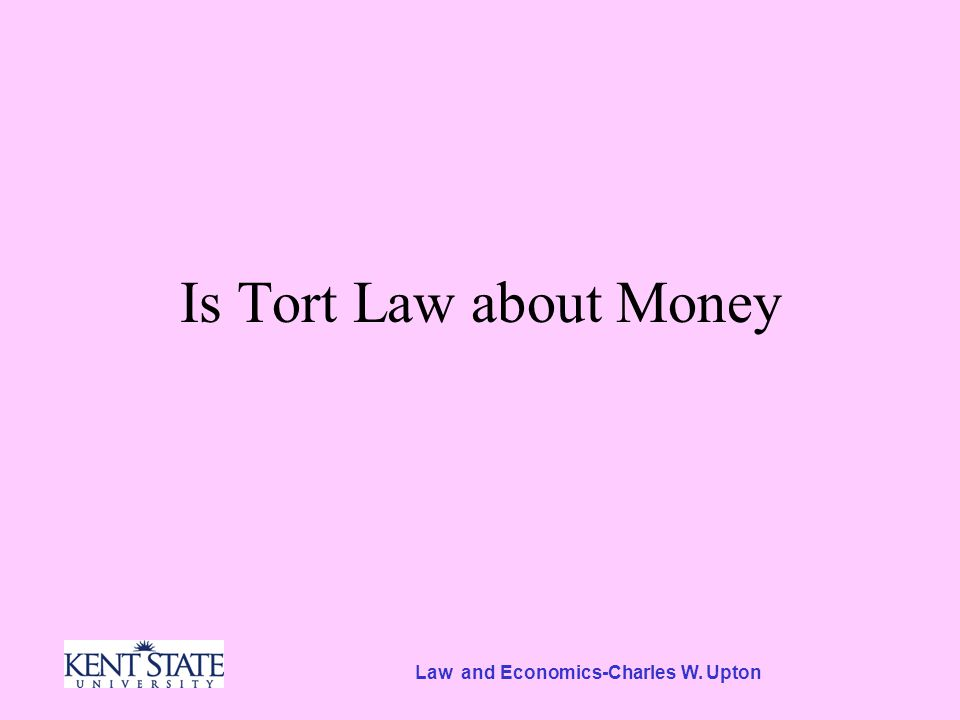 Law and Economics-Charles W. Upton Is Tort Law about Money