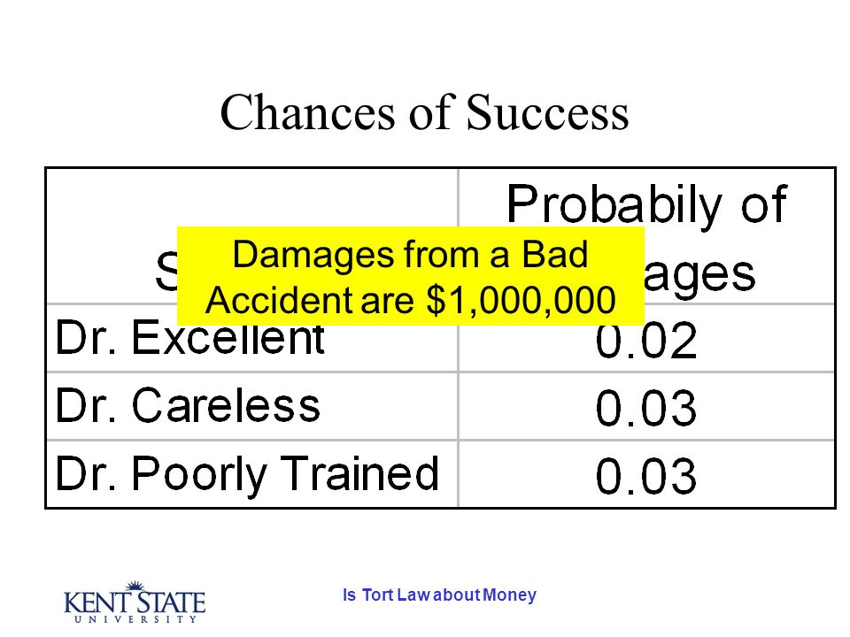 Is Tort Law about Money Chances of Success Damages from a Bad Accident are $1,000,000