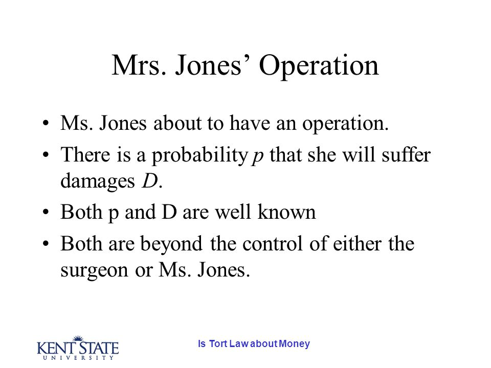 Is Tort Law about Money Mrs. Jones' Operation Ms.