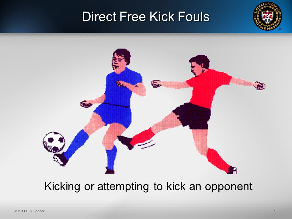 © 2011 U.S. Soccer10 Direct Free Kick Fouls Kicking or attempting to kick an opponent