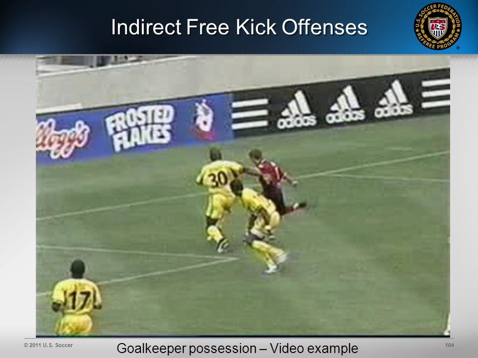 © 2011 U.S. Soccer104 Indirect Free Kick Offenses Goalkeeper possession – Video example