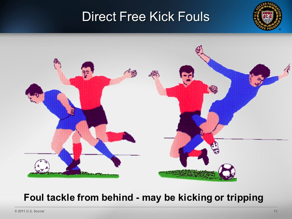 © 2011 U.S. Soccer13 Direct Free Kick Fouls Foul tackle from behind - may be kicking or tripping