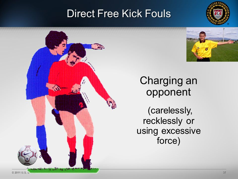 © 2011 U.S. Soccer37 Direct Free Kick Fouls Charging an opponent (carelessly, recklessly or using excessive force)