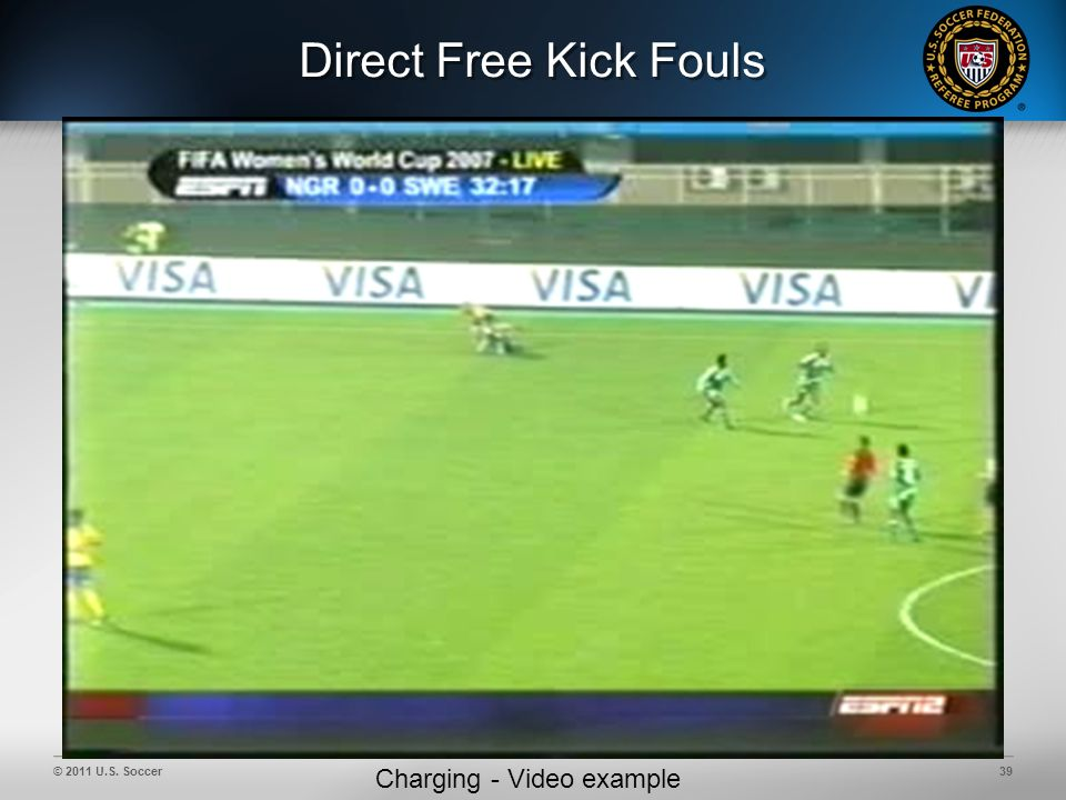 © 2011 U.S. Soccer39 Direct Free Kick Fouls Charging - Video example