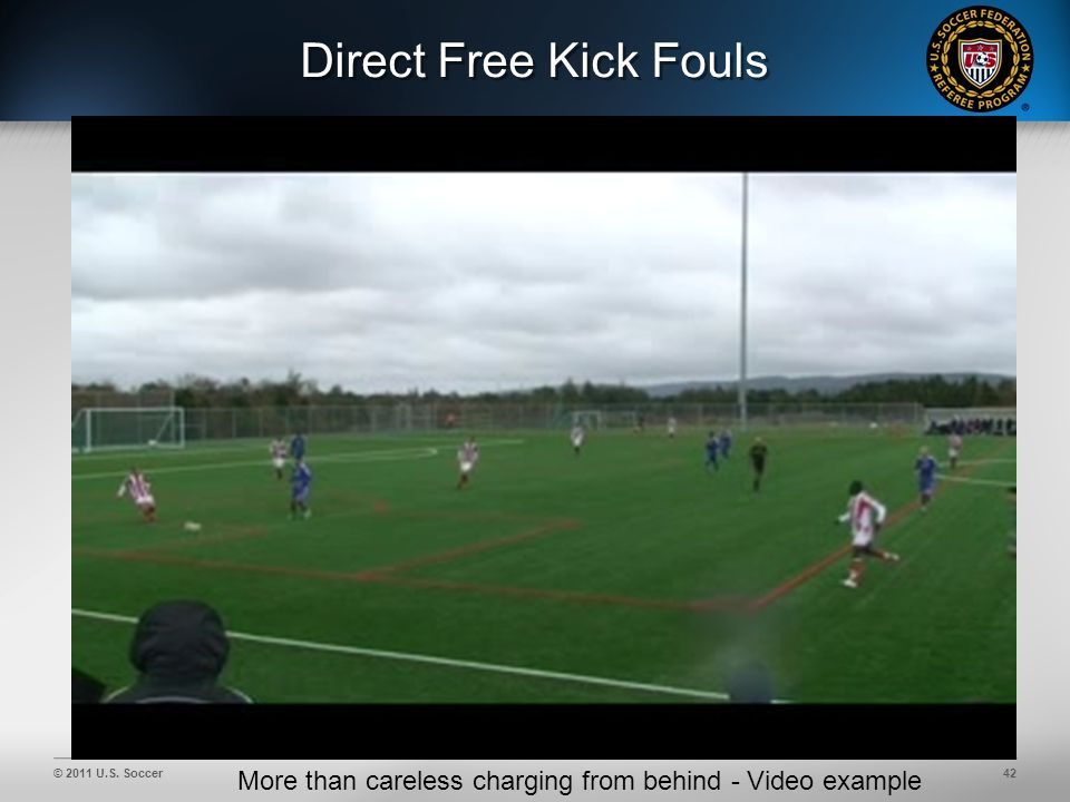 © 2011 U.S. Soccer42 Direct Free Kick Fouls More than careless charging from behind - Video example