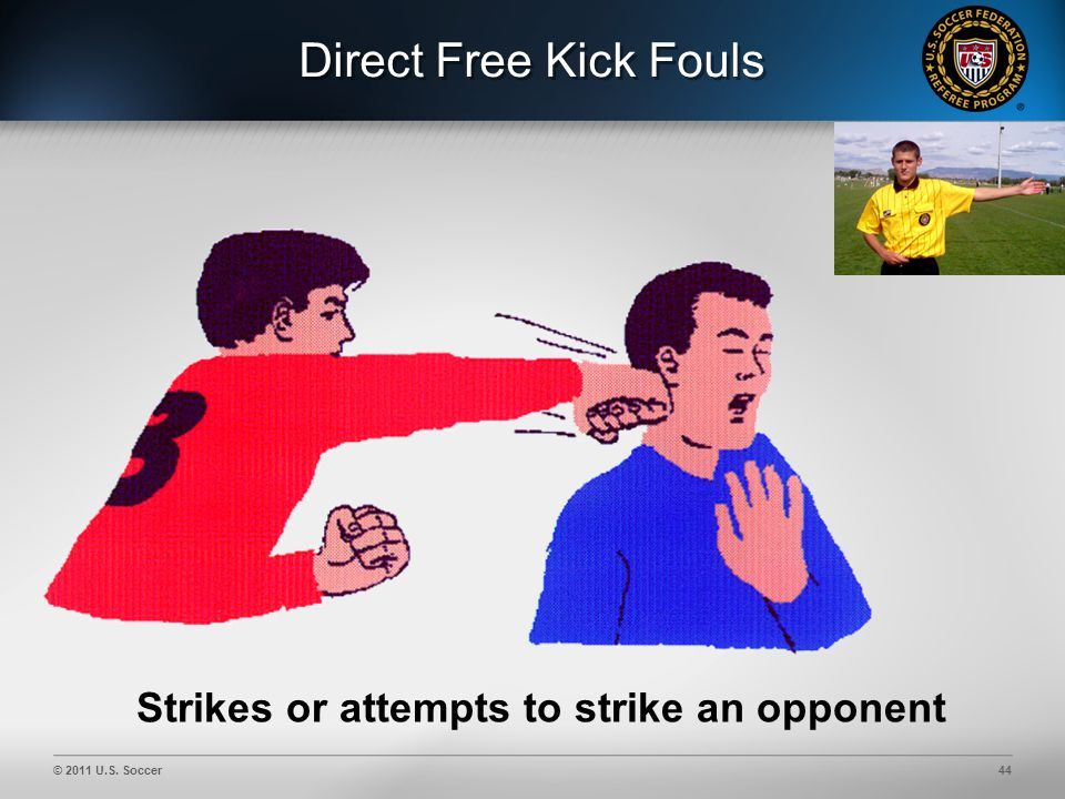 © 2011 U.S. Soccer44 Direct Free Kick Fouls Strikes or attempts to strike an opponent