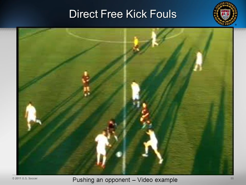 © 2011 U.S. Soccer55 Direct Free Kick Fouls Pushing an opponent – Video example
