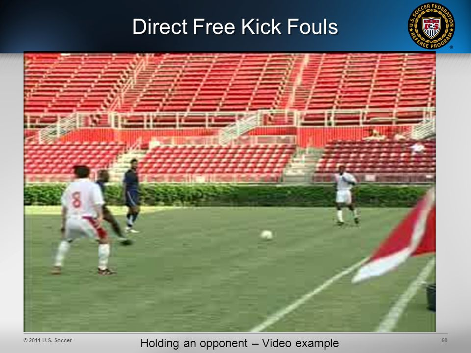 © 2011 U.S. Soccer60 Direct Free Kick Fouls Holding an opponent – Video example