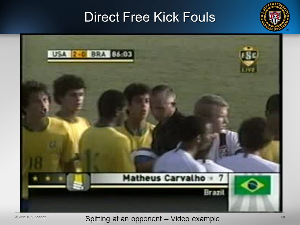© 2011 U.S. Soccer69 Direct Free Kick Fouls Spitting at an opponent – Video example