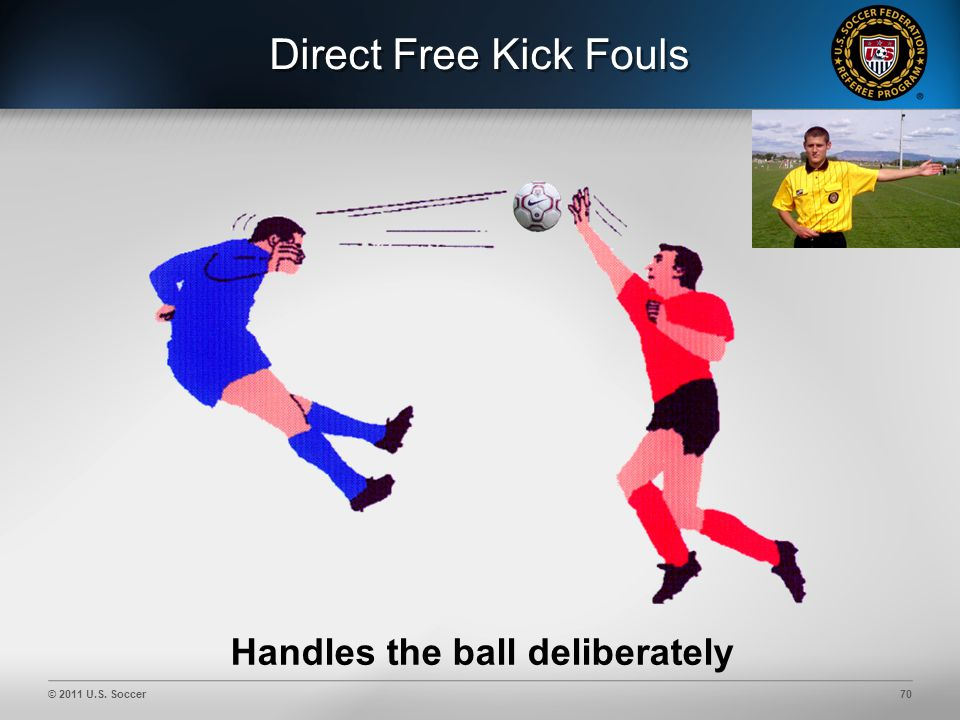 © 2011 U.S. Soccer70 Direct Free Kick Fouls Handles the ball deliberately