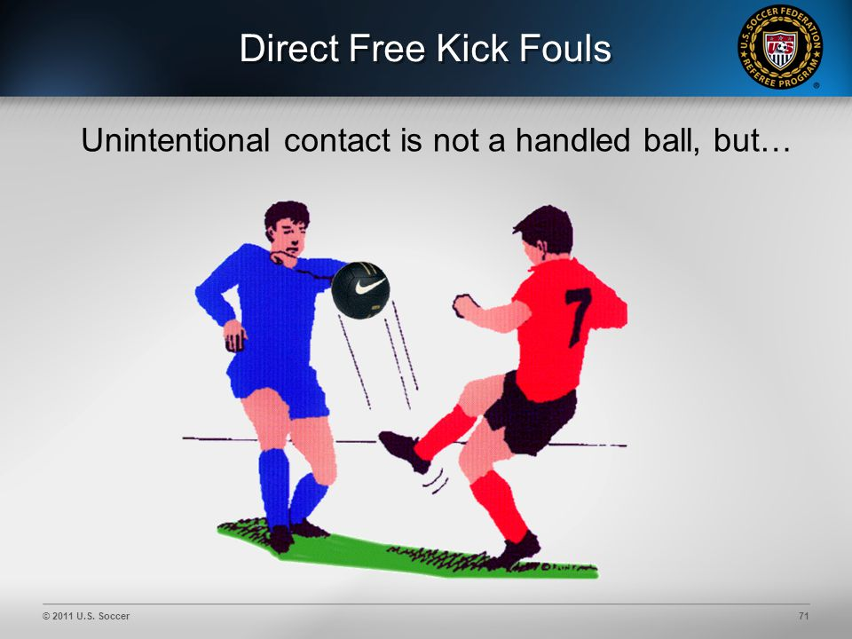 © 2011 U.S. Soccer71 Direct Free Kick Fouls Unintentional contact is not a handled ball, but…