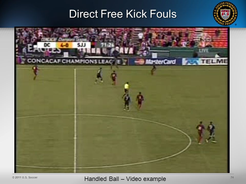 © 2011 U.S. Soccer74 Direct Free Kick Fouls Handled Ball – Video example