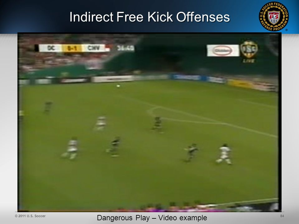 © 2011 U.S. Soccer84 Indirect Free Kick Offenses Dangerous Play – Video example