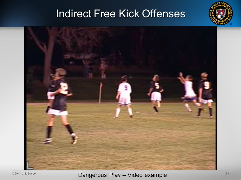 © 2011 U.S. Soccer88 Indirect Free Kick Offenses Dangerous Play – Video example