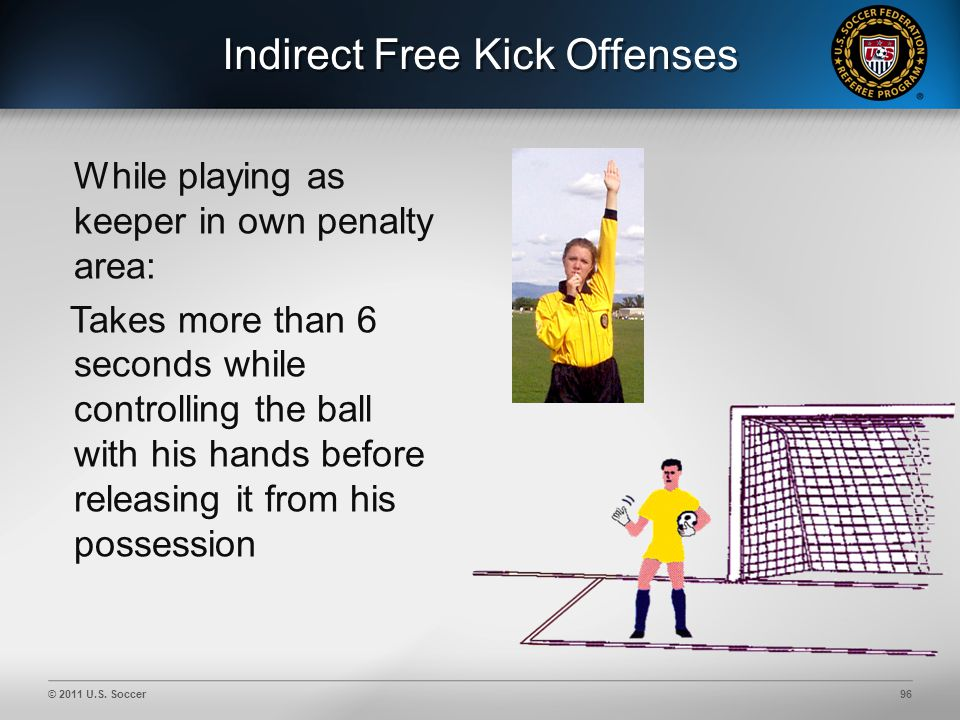 © 2011 U.S. Soccer96 Indirect Free Kick Offenses While playing as keeper in own penalty area: Takes more than 6 seconds while controlling the ball wit