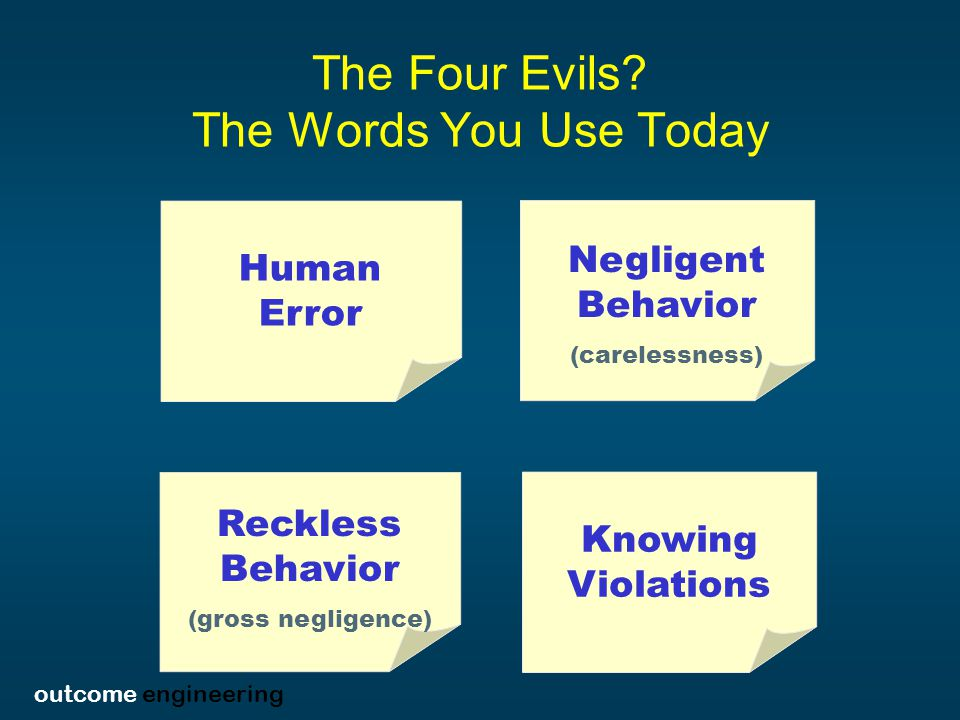 outcome engineering The Four Evils.