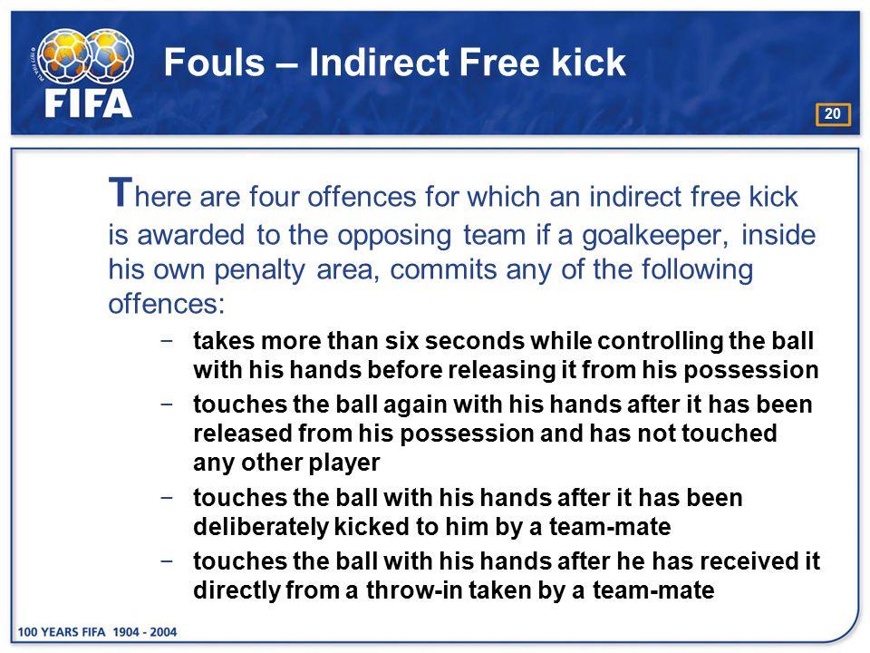 20 Fouls – Indirect Free kick T here are four offences for which an indirect free kick is awarded to the opposing team if a goalkeeper, inside his own