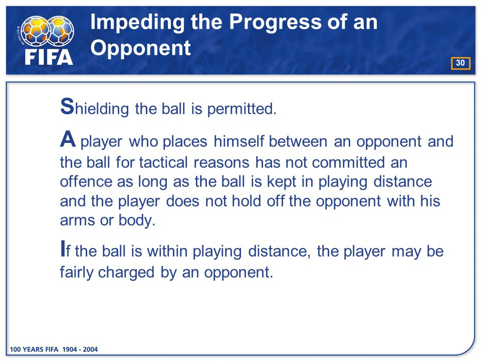 30 Impeding the Progress of an Opponent S hielding the ball is permitted. A player who places himself between an opponent and the ball for tactical re