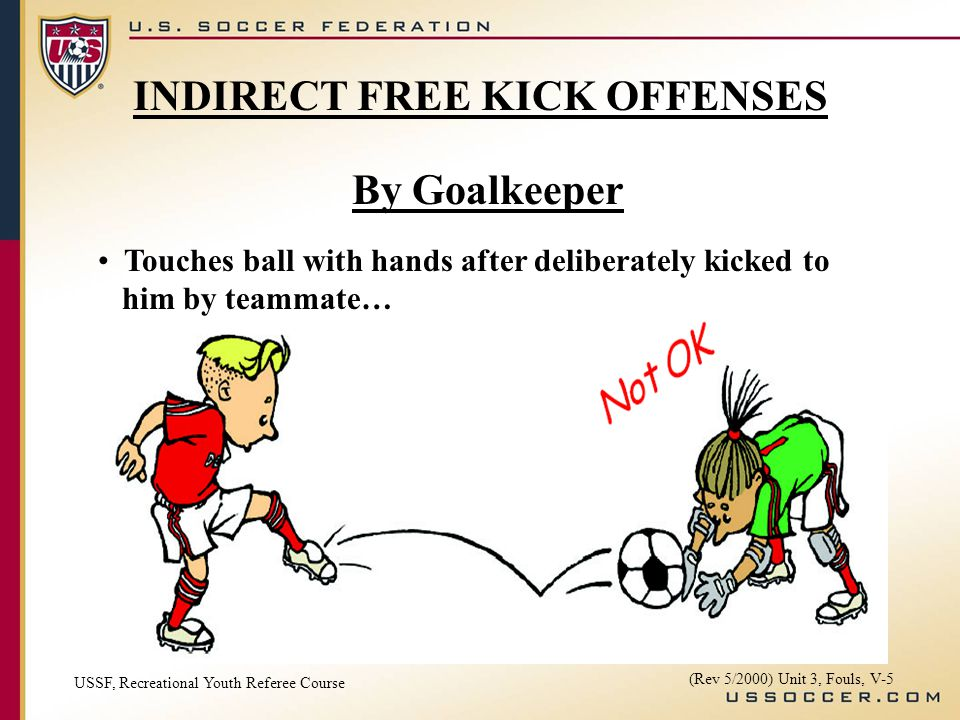 By Goalkeeper Touches ball with hands after deliberately kicked to him by teammate… USSF, Recreational Youth Referee Course (Rev 5/2000) Unit 3, Fouls, V-5 INDIRECT FREE KICK OFFENSES