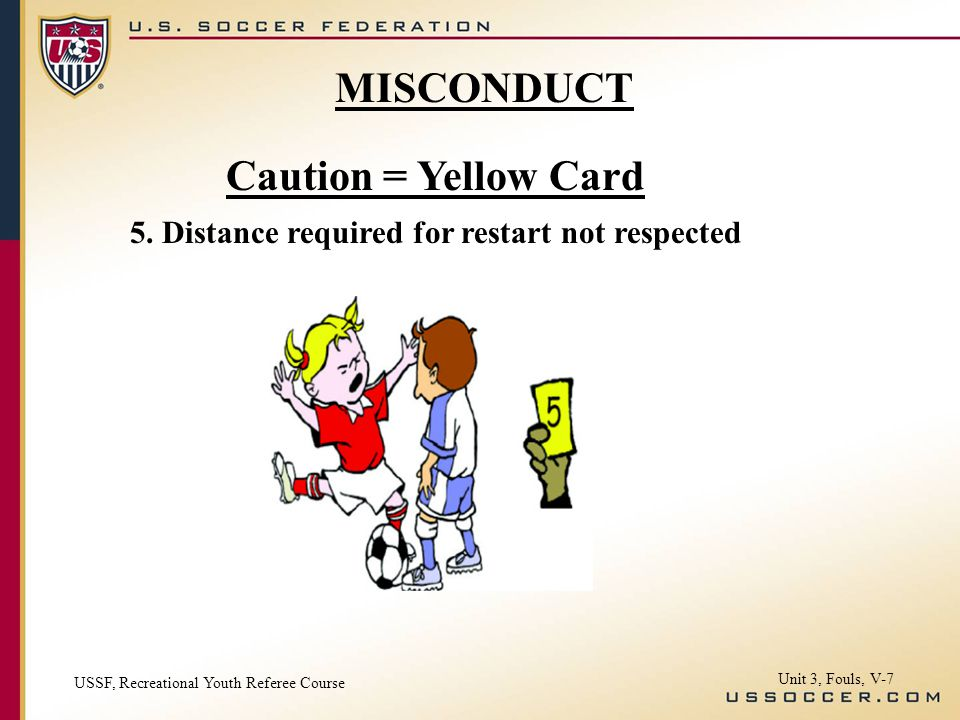 Caution = Yellow Card 5.