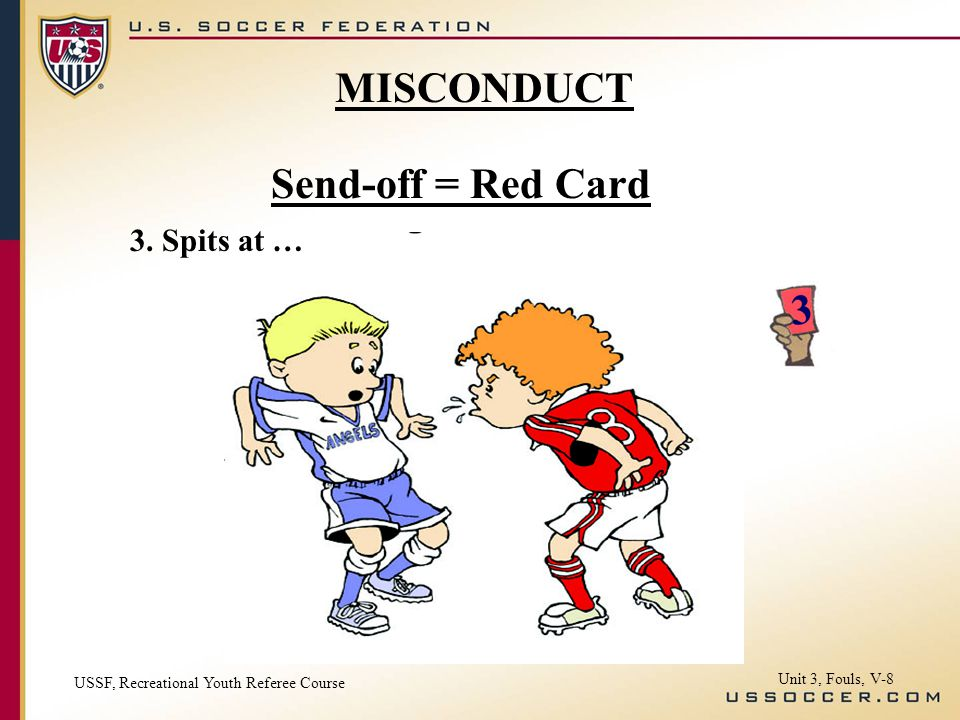 Send-off = Red Card 3. Spits at … USSF, Recreational Youth Referee Course Unit 3, Fouls, V-8 MISCONDUCT