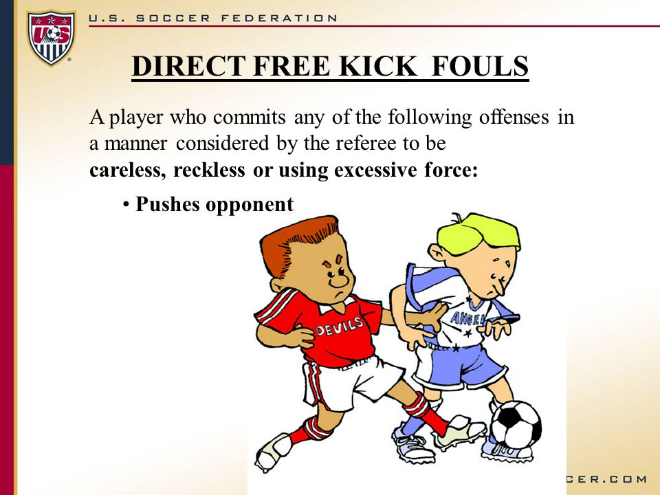 DIRECT FREE KICK FOULS A player who commits any of the following offenses in a manner considered by the referee to be careless, reckless or using exce