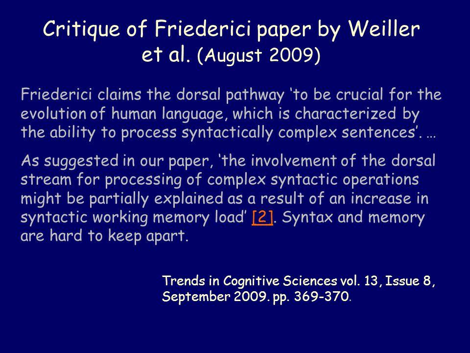 Critique of Friederici paper by Weiller et al.
