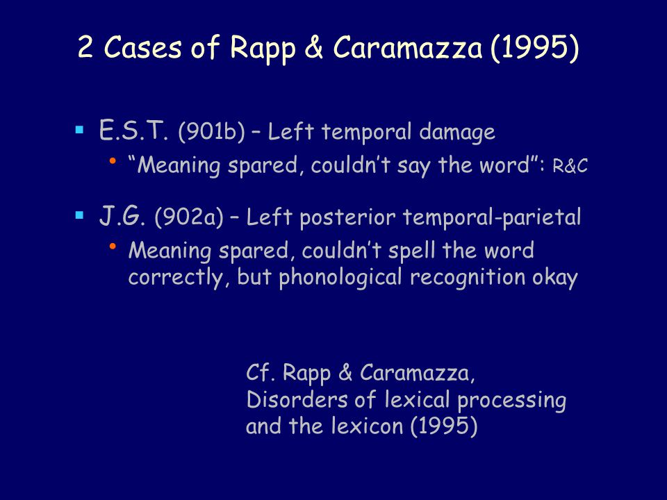 2 Cases of Rapp & Caramazza (1995)  E.S.T.