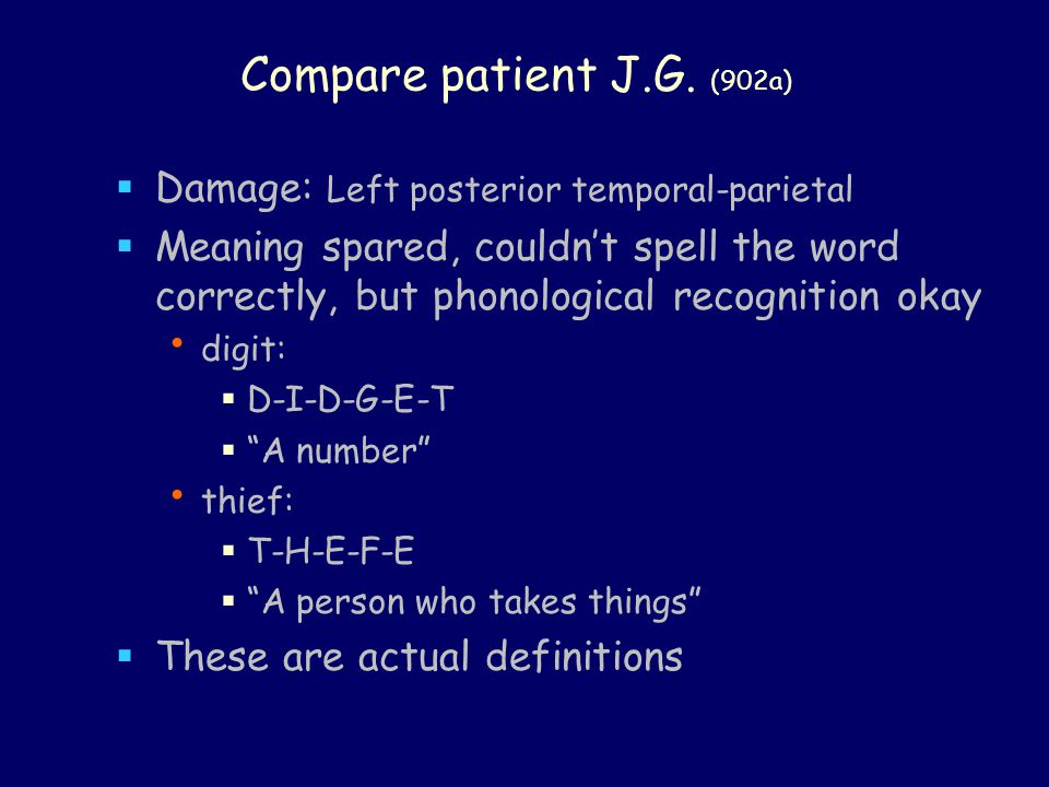 Compare patient J.G.