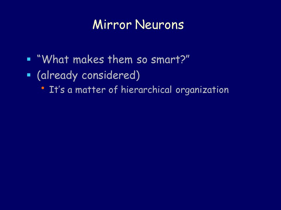 Mirror Neurons  What makes them so smart  (already considered) It's a matter of hierarchical organization