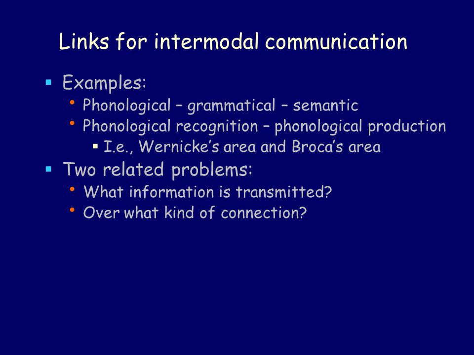 Links for intermodal communication  Examples: Phonological – grammatical – semantic Phonological recognition – phonological production  I.e., Wernicke's area and Broca's area  Two related problems: What information is transmitted.