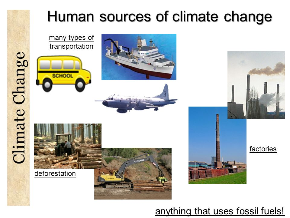 Human sources of climate change many types of transportation factories anything that uses fossil fuels.