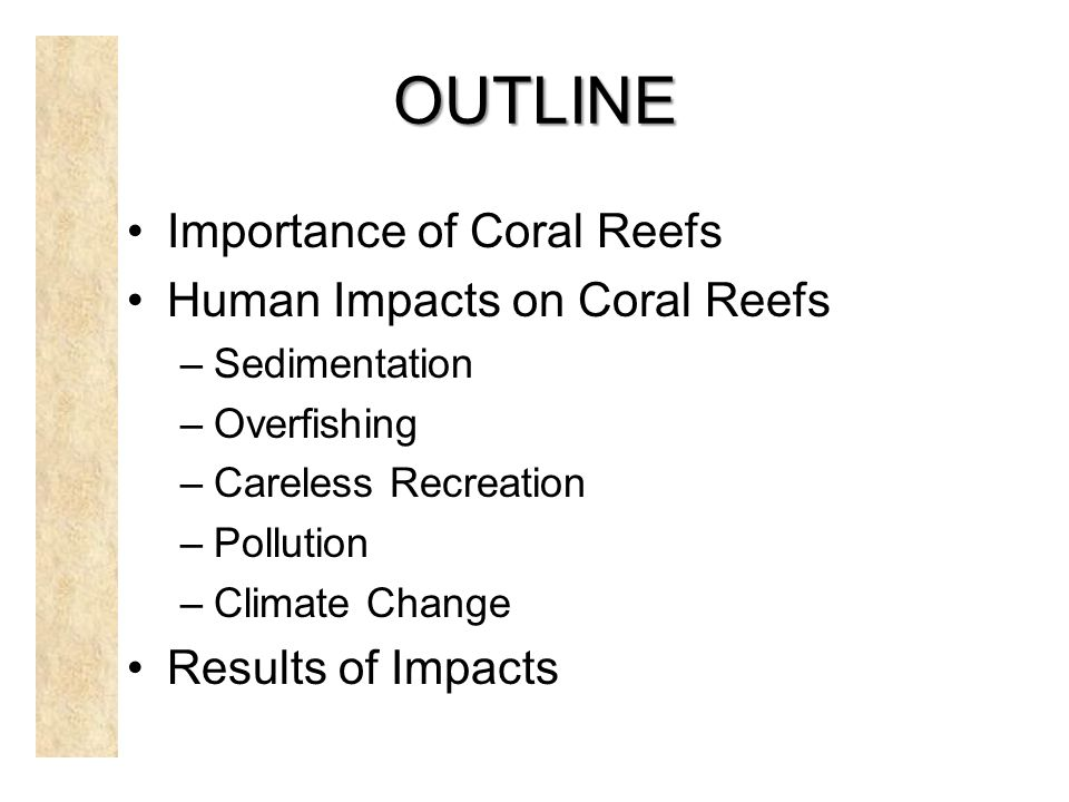 OUTLINE Importance of Coral Reefs Human Impacts on Coral Reefs –Sedimentation –Overfishing –Careless Recreation –Pollution –Climate Change Results of Impacts