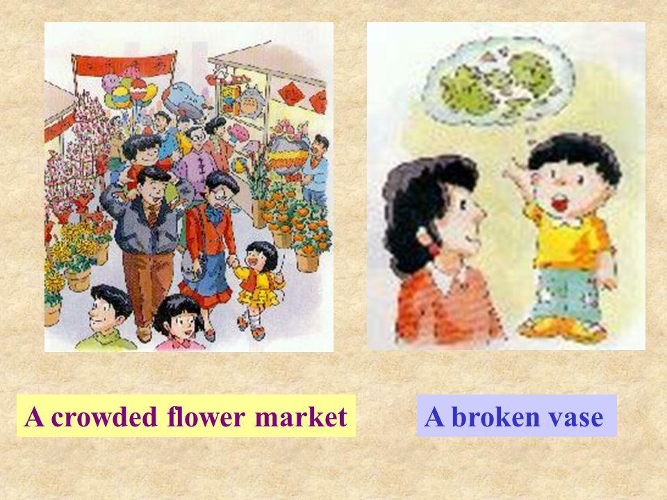 A crowded flower marketA broken vase