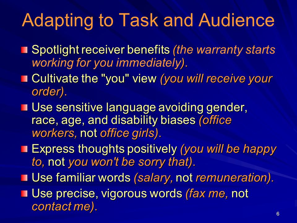 6 Adapting to Task and Audience Spotlight receiver benefits ( ). Spotlight receiver benefits (the warranty starts working for you immediately). Cultiv