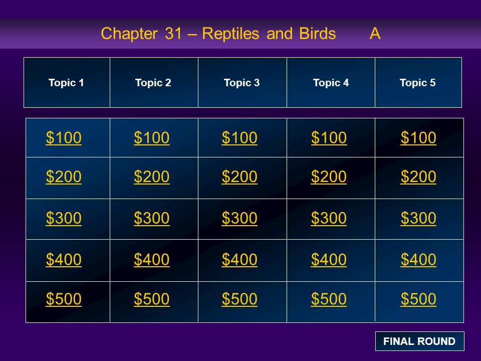 Chapter 31 – Reptiles and Birds A $100 $200 $300 $400 $500 $100$100$100 $200 $300 $400 $500 Topic 1Topic 2Topic 3Topic 4 Topic 5 FINAL ROUND